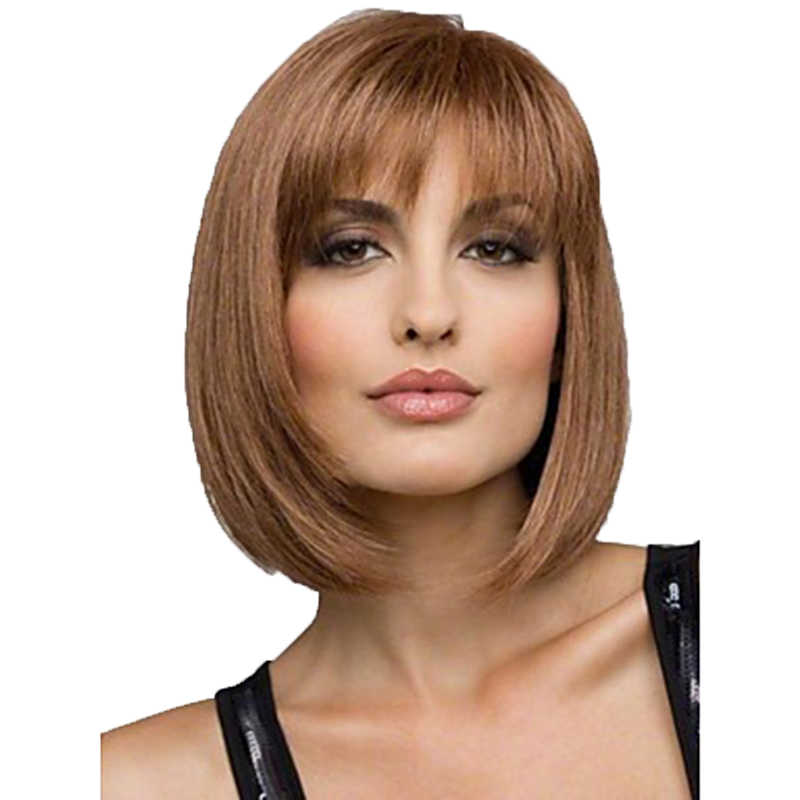 HAIRJOY Women Synthetic Wigs Brown Short Straight Bob Hairstyle  Heat Resistant Full Hair Wig  Freeshipping-in Synthetic None-Lace  Wigs from Hair Extensions & Wigs