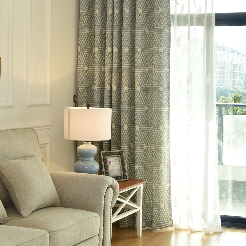 chenille cortina americana dormitorio sala geomtrica jacquard apagn cortina de la ventana cortina cortina escarpada