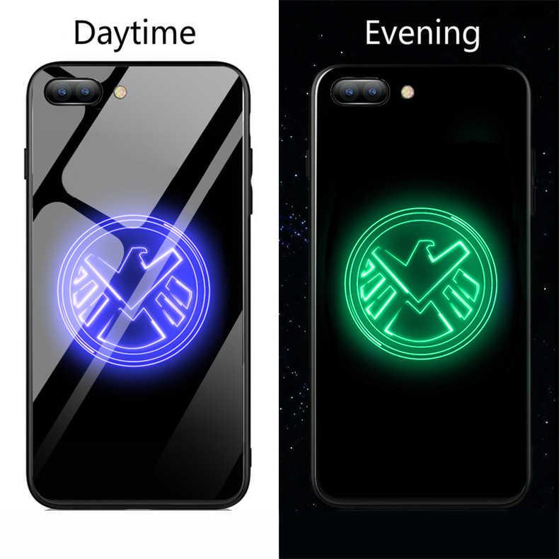 Caso de telefone de vidro luminoso marvel deadpool spiderman veneno padrão capa traseira para samsung galaxy s8 s9 mais nota 8 caso telefone