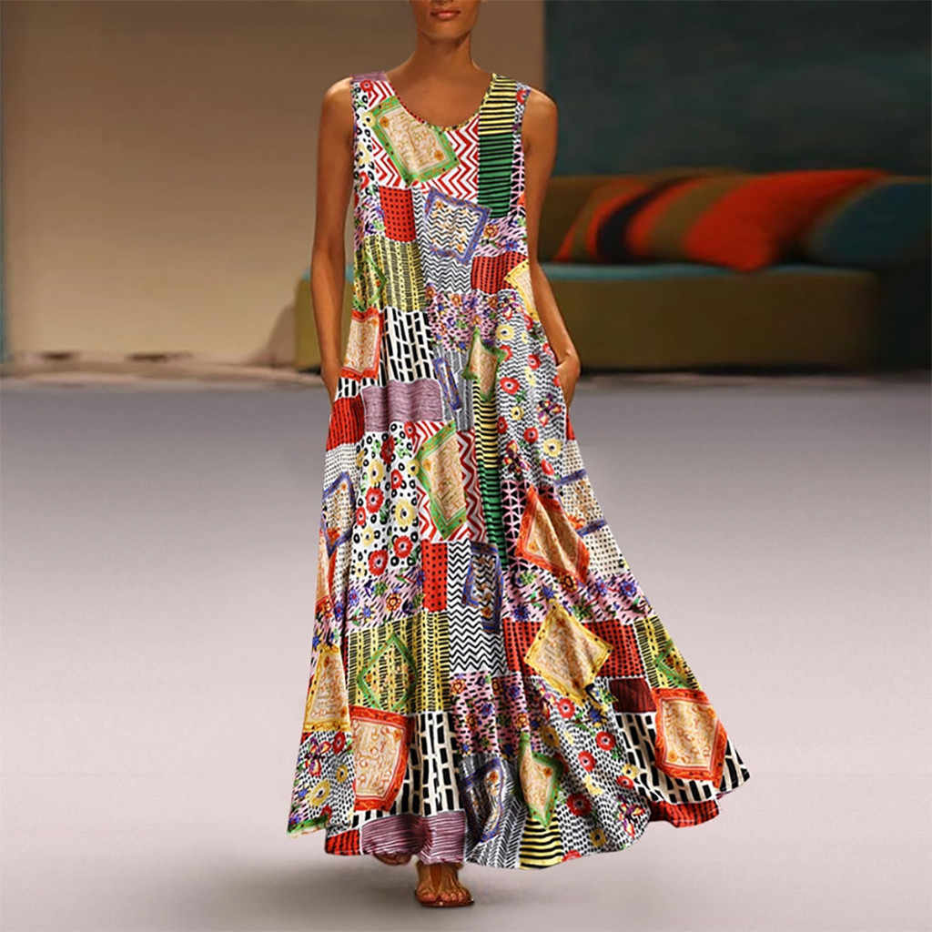 2019 Women Summer Dress Vintage Print Floral Patch Maxi Long Dress Female Boho Sleeveless O-Neck Loose Dress Plus Size Vestidos