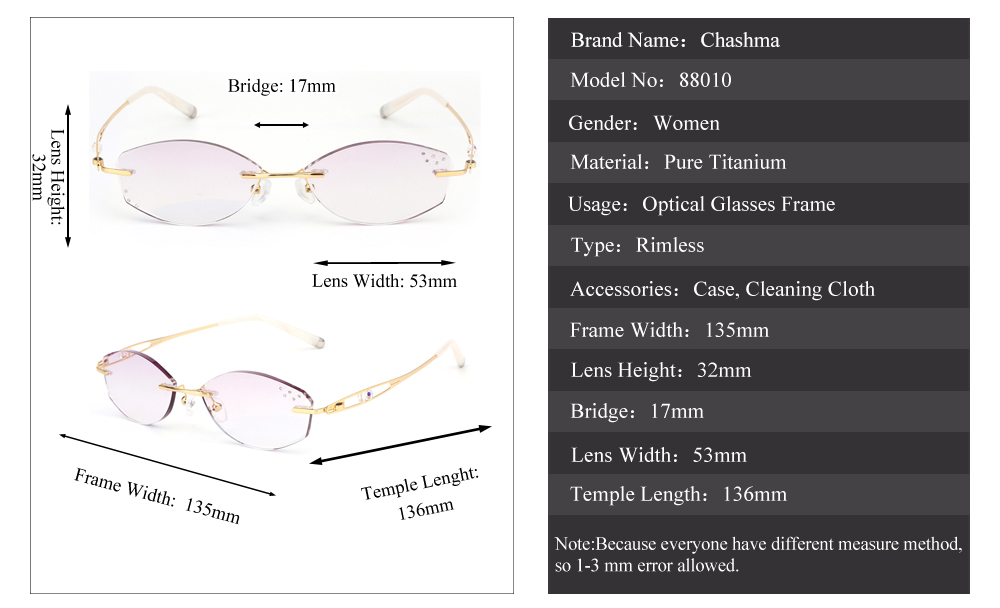 2c9f269556 ... Diamond Trimmed Rimless Glasses Titanium Fashionable Lady Eyeglasses  Spectacle Frames Women. xq Size 4 xijie YS1. Prescription Lenses Service