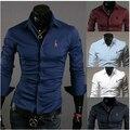 Новые 2016 Рождество Новый Бренд С Длинным Рукавом Мужская Рубашка Повседневный Slim Fit Социальная Цветочный Формальный Олень Вышивка Мужские Рубашки Дизайнер