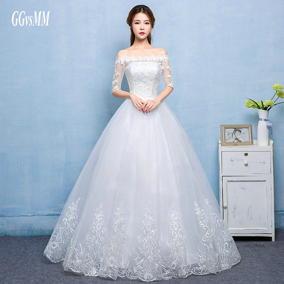 vestido de noiva de renda Ivory Wedding Gowns Sexy Long Wedding Dress Beat-Neck Tulle Lace-Up Ball Gown White Bridal Dresses