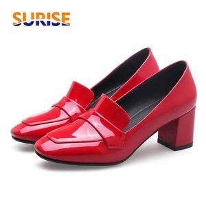 Модные красные женские лоферы из лакированной кожи на квадратном каблуке 6 см; Туфли-лодочки с квадратным носком; Повседневные офисные туфл...