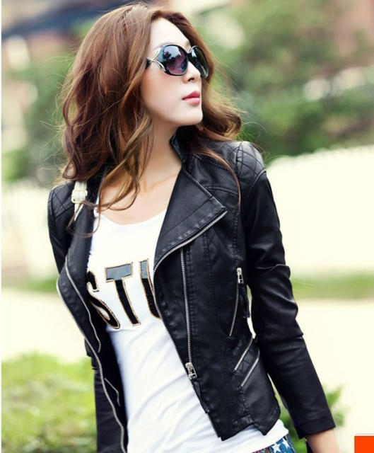 Aliexpress.com : Buy Fashion Leather jacket women coats outerwear ...