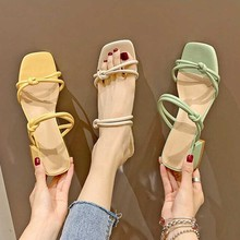 2019 New Summer Women Sandals Slippers Square Heel Slides Shoes Beach Casual Outdoor