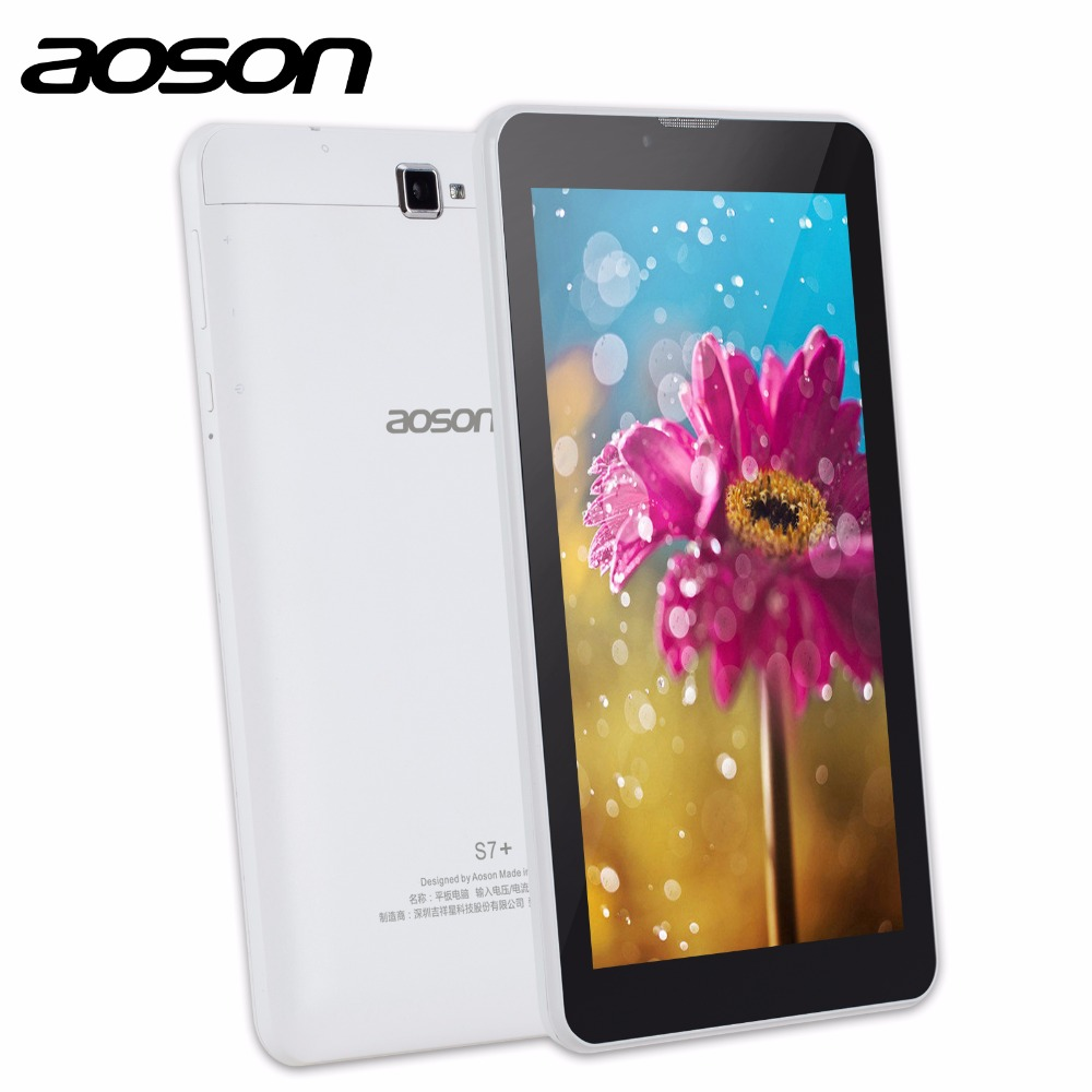 3G Phablet Aoson S7+ 7 inch Tablet PC 16GB+1GB IPS Android 7.0 Quad Core Dual Cam Phone Call Tablets GPS Bluetooth 7 8 10 10.1 hot irulu x6 3g phablet 7 android 7 0 slim tablet phone call quad core 1024x600 ips rom 16gb dual cam wireless fm gps 2800mah
