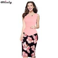 Oxiuly 2017 Summer Women Floral Print Patchwork Working Sheath Sundress Sleeveless Bodycon Office Plus Size 4XL 5XL Pencil Dress