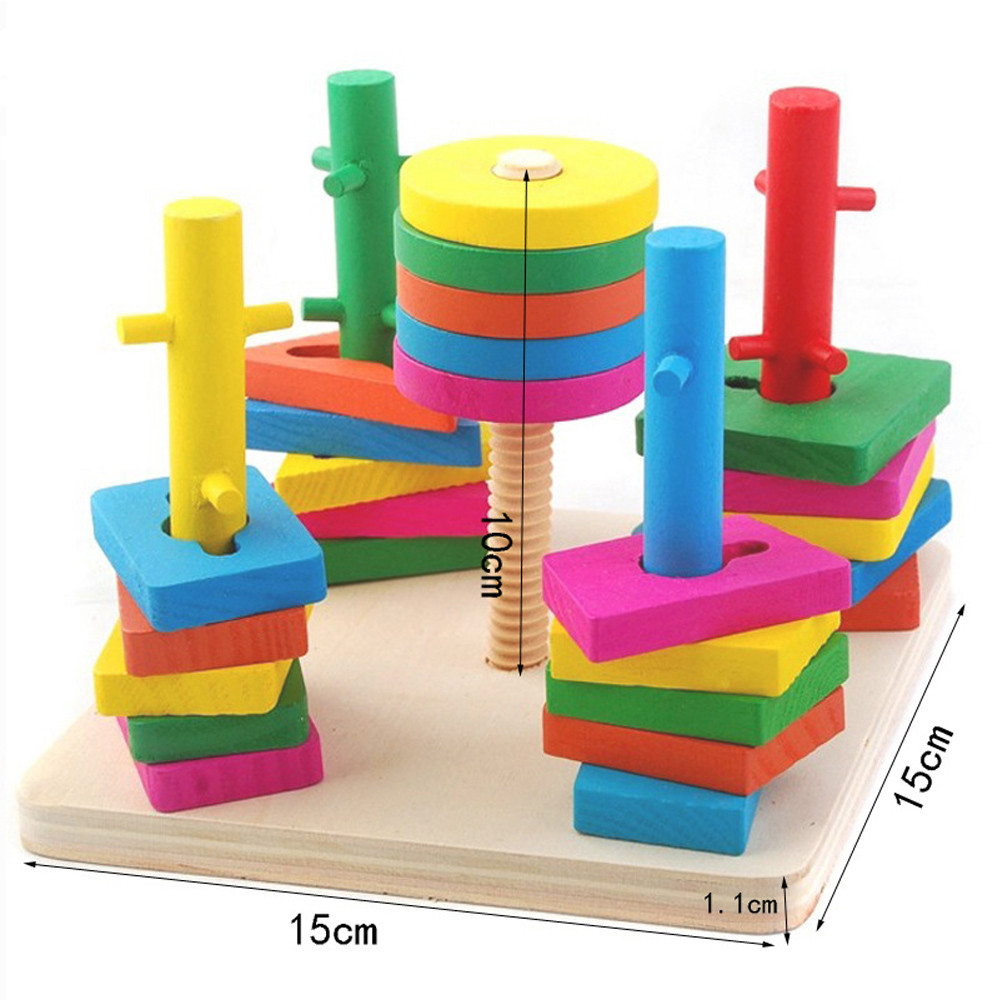 Wooden Educational Preschool Learning Shape Color Recognition Geometric Puzzle Funny font b Gadgets b font Novelty