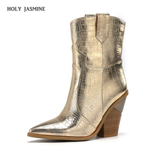 2019 Winter New Fashion Embossed Microfiber Leather Women Ankle Boots Pointed Toe Western Cowboy Boots Women Slip On Tabs Boots цена 2017