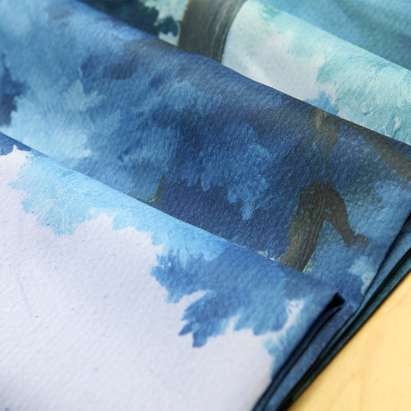Printing Large Leaf Landscape Shower Curtain Blue Theme for Bathroom hooks home decoration Bathtub Waterproof size 180cmx180cm