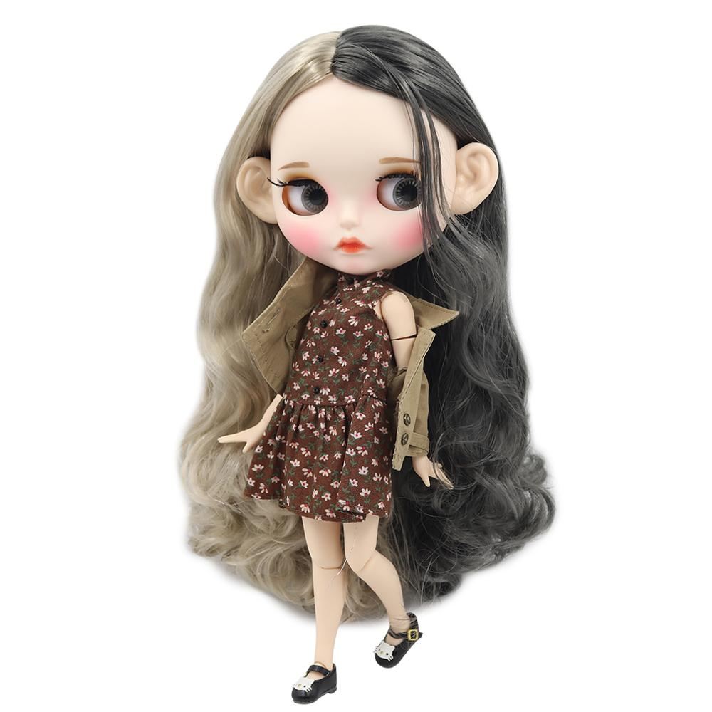 ICY factory blyth doll 1 6 bjd white skin joint body grey and silver hair new