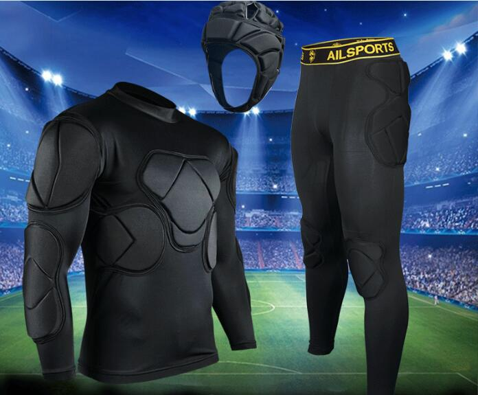 цены  High quality Whole set EVA Anti-crash Goalkeeper Sets Breathable Long Sleeve Goalkeeper Jerseys Soccer Sets