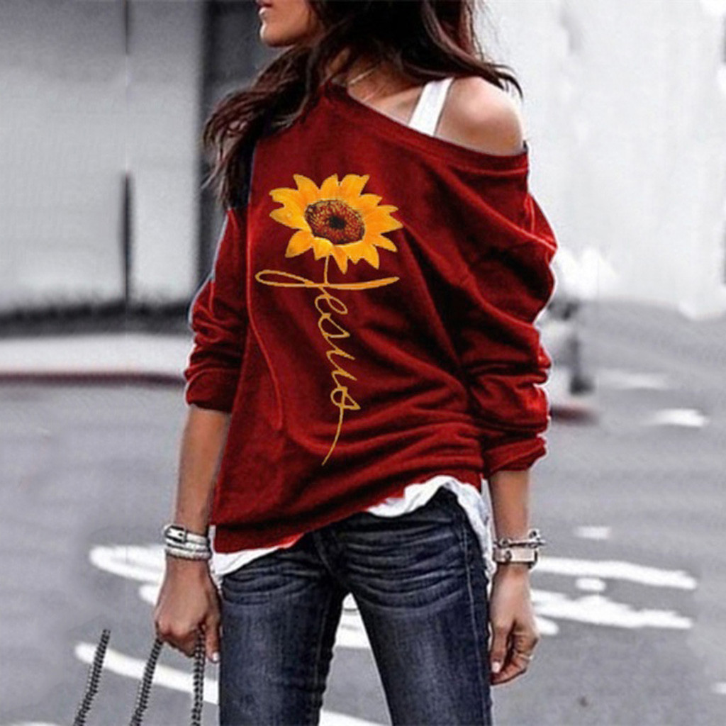 New Fashion Women Long Sleeve Foral Print Sunflower One Shouder Blouse Fashion Shirt Blouse Ladies Daily Comfort Top Z4