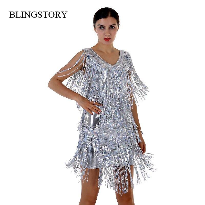 Blingstory novidade verão dança vestido de lantejoulas belos vestidos flapper com fringe robe femme M-XXL drop-shipping