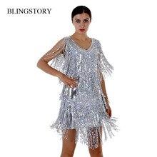 BLINGSTORY Novelty Summer Dancing Vestido Sequin Dress Elegant Beautiful Flapper Dresses with Fringe M-XXL Dropshipping