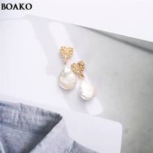 Knotted Decor Sterling Silver Earrings High quality drop pearl Paved Freshwater Pearl Drop Earring For Women Classic Gift A40
