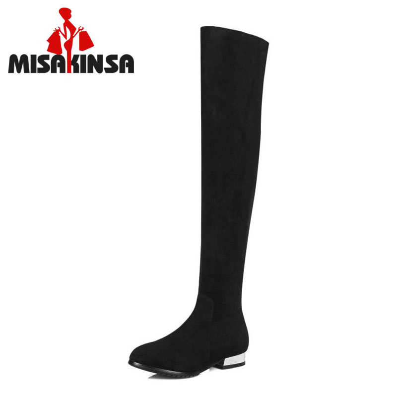 Classic Flat Boots Women Winter Boots Real Genuine Leather Knee High Shoes Square Heel Long Boots Size 31-45