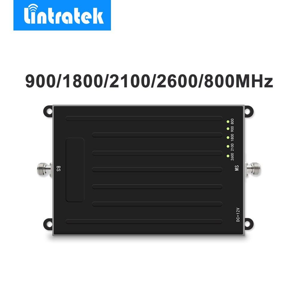 Lintratek Signal Booster ALC AGC teléfono móvil amplificador Ampli para 2G 3G 4G LTE 900/1800 /2100/800/2600 MHz Amplificador Movil @