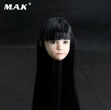 1/6 Scale Lovely Asia Child Head Sculpt Little girl Head with Long Hair Model Toy fit For 12 inches Action Figure Body Accessory 1 6 asian star women black short hair head sculpt model for 12 inches female action figure body