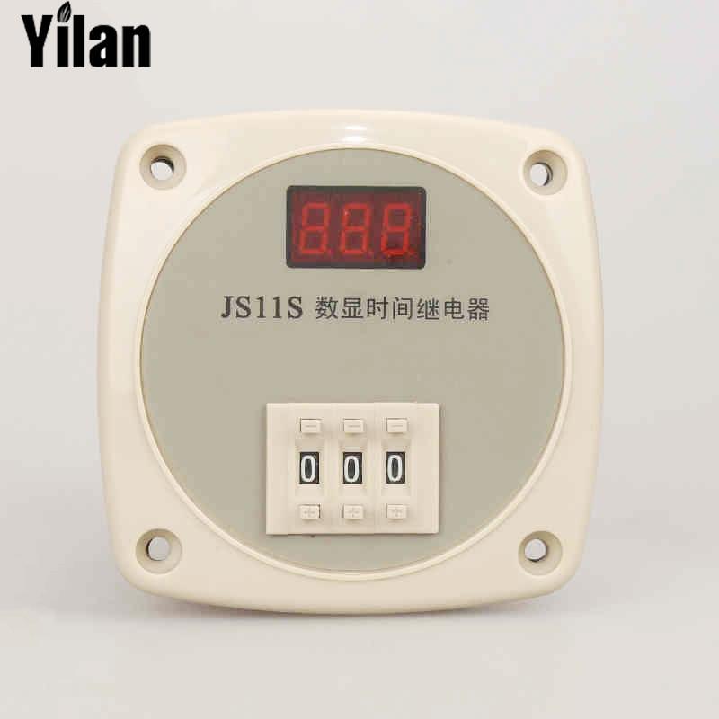все цены на JS11S Customized 3 Digits Time Relay Timer Relay Time Range & Voltage Digital Tme Relay 220V 24V 12V optional 220V онлайн