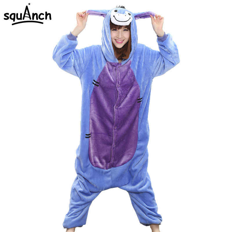 73383fdfedc2 Detail Feedback Questions about Donkey Onesie Animal Pajama Eeyore Costume  Couple Adult Men Women Overalls Sleepwear Funny Carnival Party Suit Flannel  Soft ...