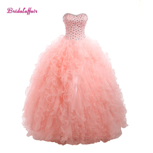 KapokBanyan Real Photo Pink Sweetheat Ball Gown Quinceanera Dresses 2017 New Crystal Lace up Prom Tiered Organza Party