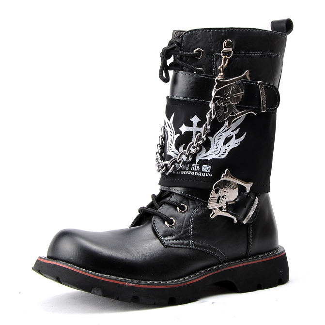 Spring autumn Men's personalized knee-high fashion boots trend casual punk rock martin shoes Man 38-43 - Oh Yeah' store