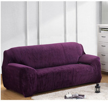 Thick Velvet Plush Sofa Slipcover Pixel Stretch Fashion Couch Cover Grey Purple Anti