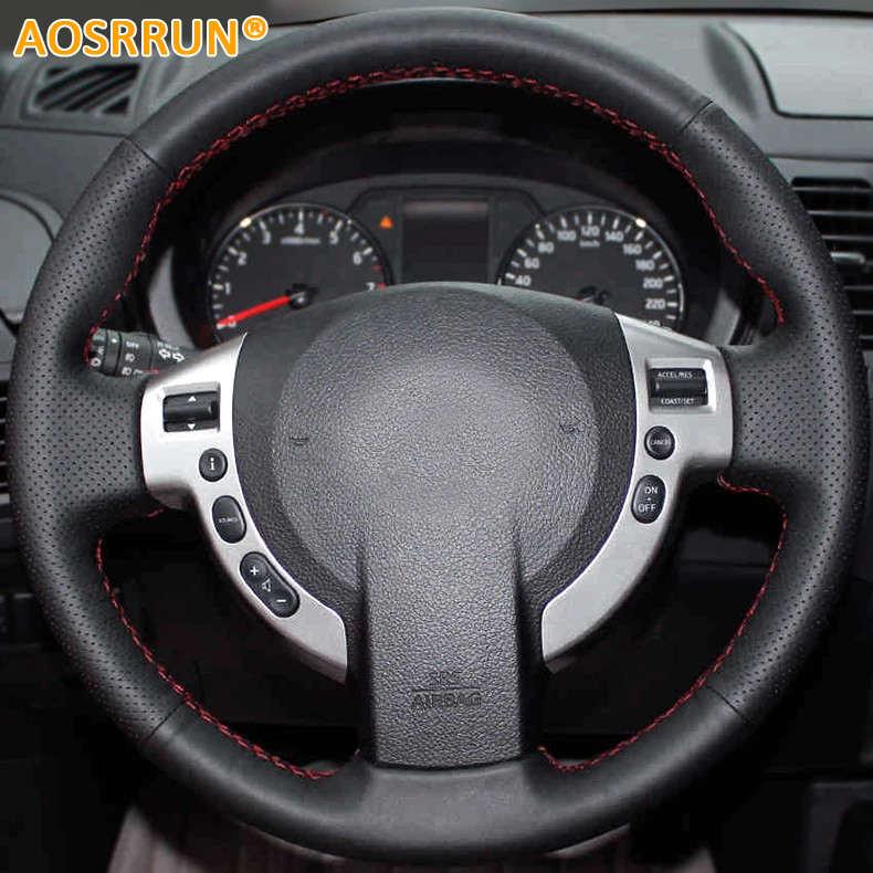 Aosrrunning envío gratis cosido a mano Todas las fundas de cuero para volante Nissan Qashqai J10 X-TRAIL NV200 2008-2012 estilo de coche