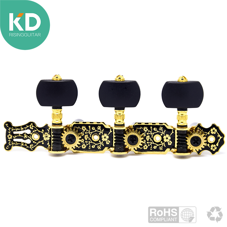 1 pair Acoustic Classical Guitar Gold / Black  Tuning Keys Pegs String Tuner Machine Head with watch screw ratio 1:18 savarez 500arh classical corum standard tension set 024 042 classical guitar string