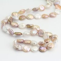 60inch Long Coin Pearl Necklace,12MM Natural Multi Rainbow Coin Freshwater Pearl Necklace,Charming Women Gift Jewelry