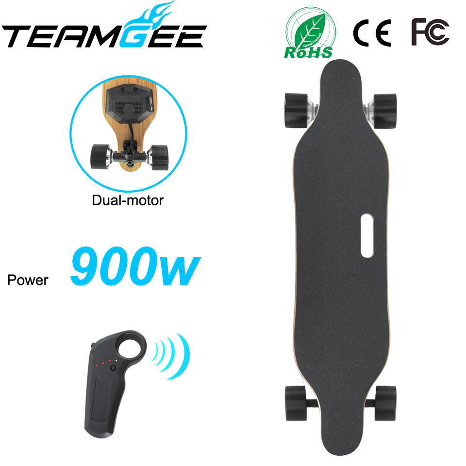 900W Dual Motor Electric Longboard Skateboard 4 wheels Electric Skate boards With Remote Controller PU Wheel Size 83*52mm electric skateboard hoverboard longboard diy single drive remote skatebord kit with hub motor wheels pu wheels and trucks