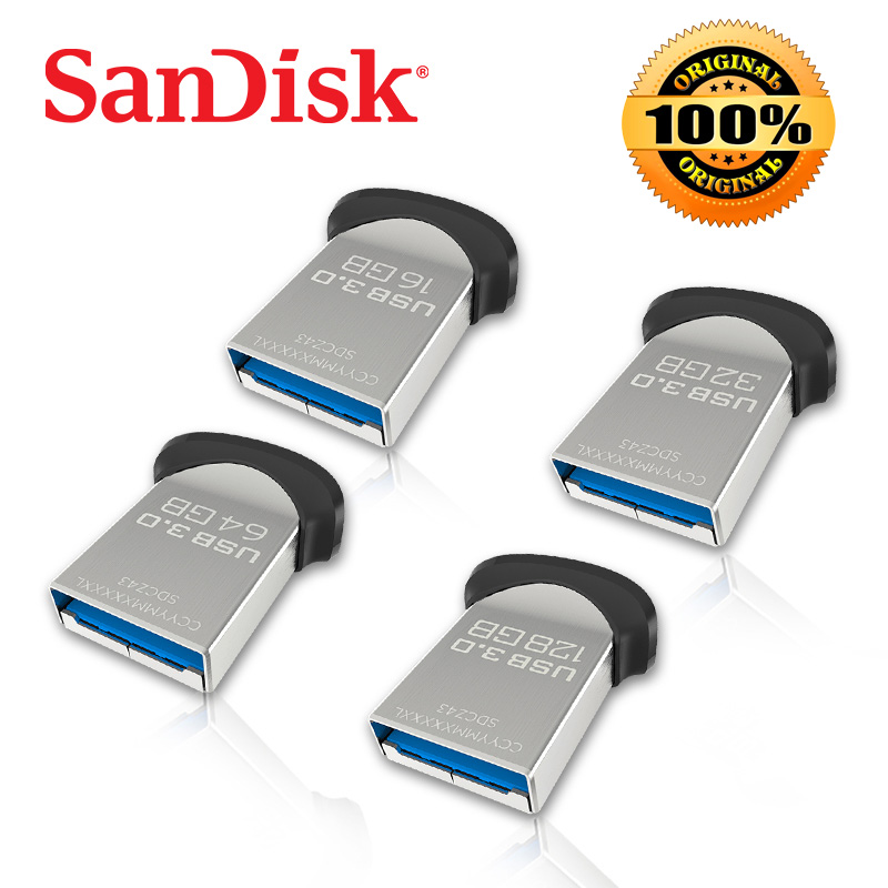 USB-флеш-накопичувач SanDisk 64 ГБ 32 ГБ 128 ГБ Ultra FIT USB 3.0 флеш-накопичувач Pen Drive До 130 м / с