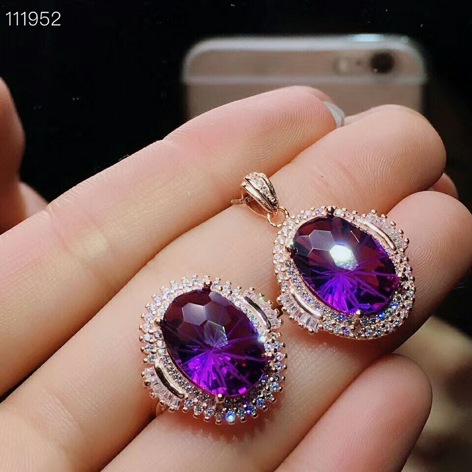 MeiBaPJ Natural High Quality Amethyst Gemstone Fine Wedding Jewelry Set 925 Pure Silver Necklace and Ring