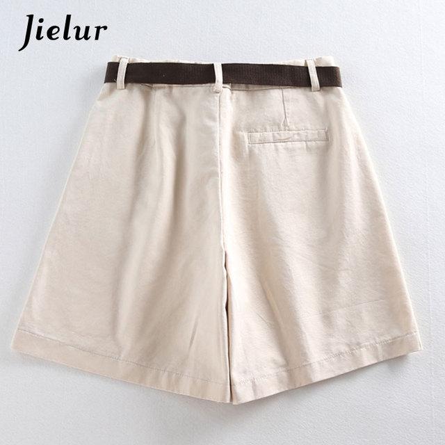 Jielur Shorts All-match 4 Solid Color Sashes Casual Shorts Women A-line High Waist Slim Short Femme Chic S-XXL Ladies Bottom 4