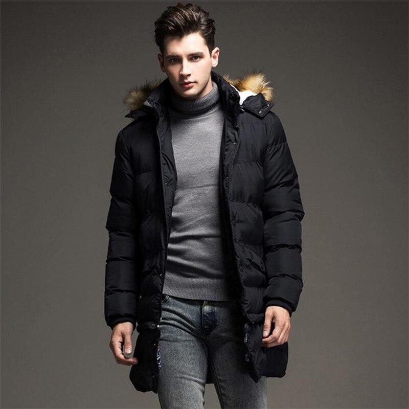Automne et d'hiver des hommes vers le bas veste d'affaires décontractée hommes manteau à capuchon solide couleur Coupe-Vent Amovible Coton Pardessus