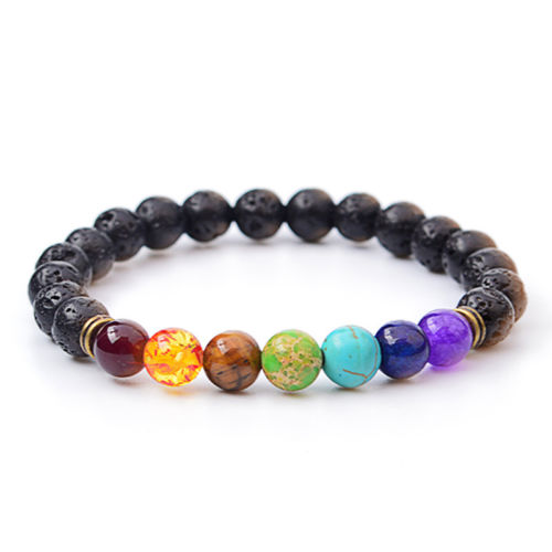 Fashion Colorful Beads Brace Bracelets Chakra Healing Lava Bracelet 7 Balance Beads Reiki Prayer Handmade For Women Men