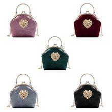 Bolso Vintage de terciopelo de alta calidad para mujer, bolso de noche de diseño de corazón, bolso de noche para fiesta de boda, bolso de hombro para novia