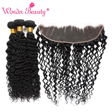 Wonder Beauty Malaysian Deep Curly 13x4 Lace Frontal Closure With 3bundles Human Hair Bundles With Frontal Non Remy Extensions