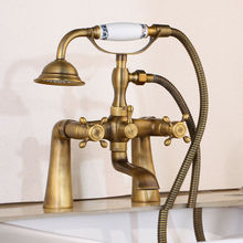 Bathtub Faucets Antique Deck Mounted Bathroom Bath Shower Faucets Brass Brushed Bathtub Faucet With Hand Shower ZD1123 ledeme bathtub faucet bathroom chrome plated outlet pipe bath shower faucets head surface inside brass bathtub faucets l2225