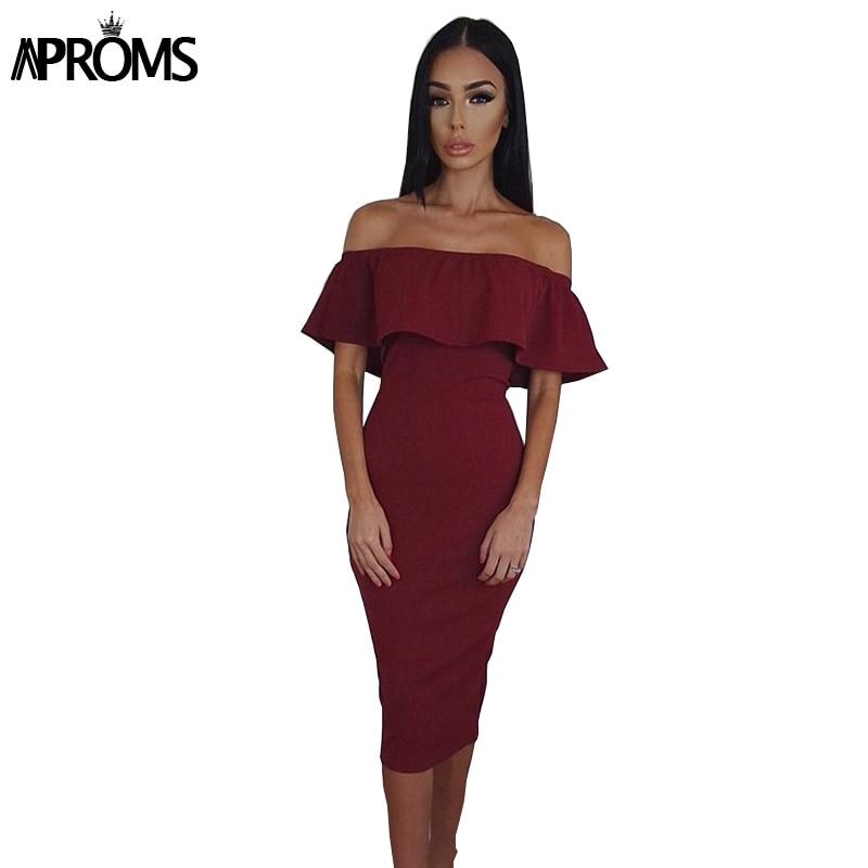 Aproms черные красные наряды с открытыми плечами осеннее платье без рукавов женские сексуальные облегающий однотонный платья вечерние платья