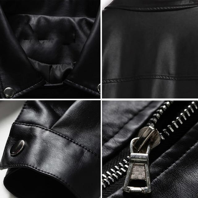 2019 New Arrival Women Autumn Winter Leather Jacket Oversized Boyfriend Korean Style Female Faux Coat Outwear Black 6
