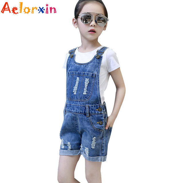 e271e0c84 2018 Denim Overalls for Girls Jeans Shorts Children Clothes Summer Girls  Jumpsuit Kids Trousers for Girls 2 4 6 8 9 10 12 Years