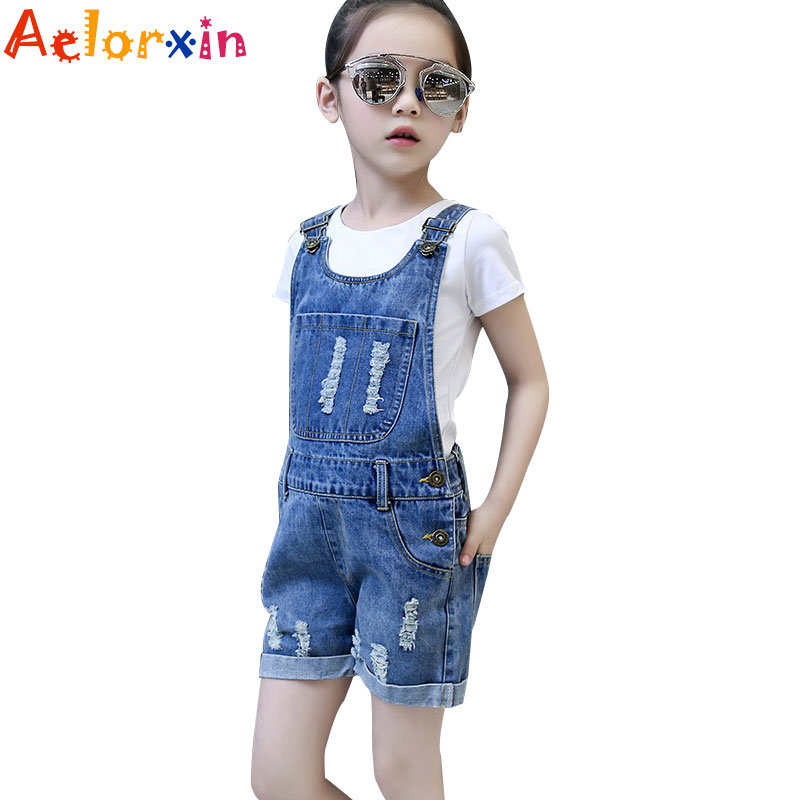 2018 Denim Overalls for Girls Jeans Shorts Children Clothes Summer Girls Jumpsuit Kids Trousers for Girls 2 4 6 8 9 10 12 Years
