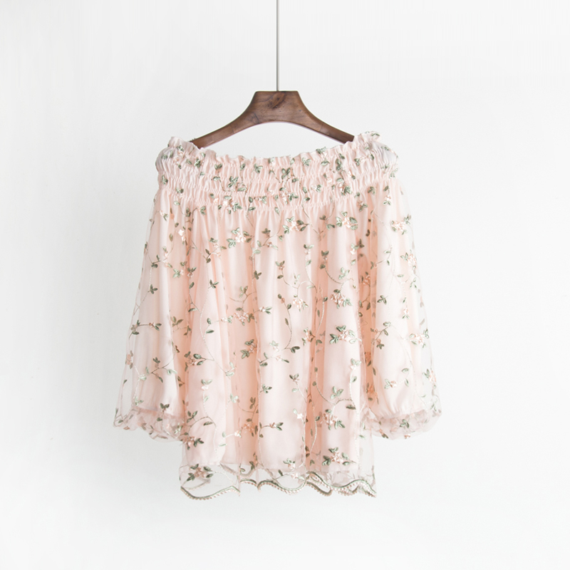 Free shipping 2018 Spring The New A word collar Strapless embroidery Flowers Lantern sleeve fashion women's clothing temperament 2
