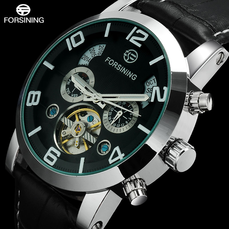 2016 FORSINING luxury brand men tourbillion Mechanical automatic self wind fashion casual business watches genuine Leather