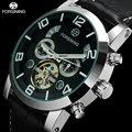 Forsining tourbillon relógio mecânico automático dos homens de negócios de luxo relógio de pulso preto pulseira de couro genuíno relógio calendário automático