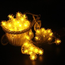 2m 3m 4m 5m 10m Pine Cone pendants Fairy led garland on AA batteries Christmas outdoor string lights New year party wedding deco