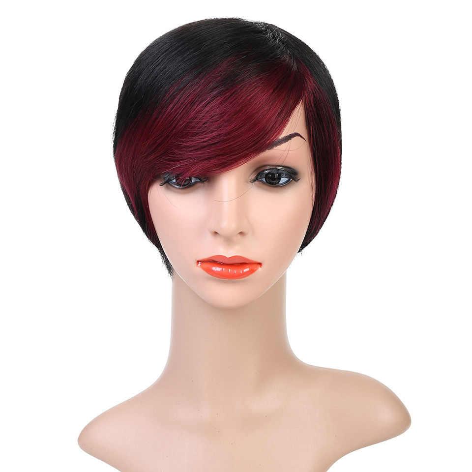 Cateleya короткий прямой человеческих волос парики Для женщин Omber Стиль полный голова-Волосы remy бразильский человека парики Черный Цвет